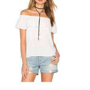 1. STATE  Cloud Cold Shoulder Ruffle Blouse